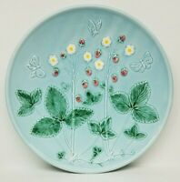 """ANTIQUE VTG ZELL GERMAN MAJOLICA  STRAWBERRY & BUTTERFLY 11"""" PLATE - 2 AVAILABLE"""