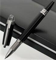 Luxury MB Rollerball Ballpoint Pen Classic Black Silver Clip Metal