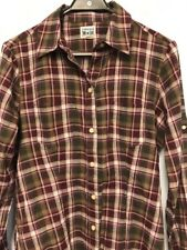 Converse All Star Women's Plaid Button Up Shirt Purple Sheer 100% Cotton Size M