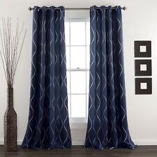 Set 2 Navy Blue Swirl Stripe Curtains Panels Drapes 84 inch L Blackout Grommet
