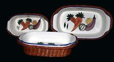 6-Pc Hampton Direct Vegetable Theme Loaf Baking Dishes & Wicker Baskets Unused