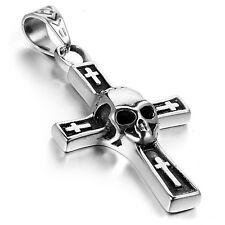 MENDINO Men's Stainless Steel Skull Head Cross Pendant Necklace Silver Black