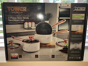 Tower Marble and Rose Gold Non Stick 3-Piece pan Set  SUITS ALL HOBS NEW
