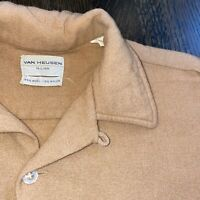 Vtg 50s 60s VAN HEUSEN Shirt Tan Wool Nylon Loop Collar Mid Century Mens LARGE