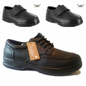 NEW  mens black dr keller wide easy strap fasten casual lace up comfort shoes