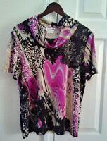 Nikki Top Blouse Shirt Cowl Neck Women's Size Large Black Purple Watercolor
