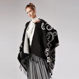 Luxury Celeb Cashmere Like Poncho Blanket Wrap Shawl Cape  Poncho Tai Chi Cool