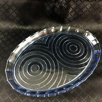 Vintage Glass Plate Art Deco Blue Tray Vanity Stand Geometric