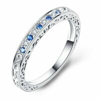 Cynthia Sterling Silver Blue CZ Anniversary Ring Wedding Band