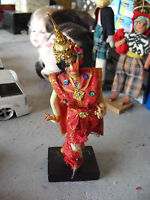 """Vintage 1960s Cloth Ethnic Asian Dancing Woman Doll 7 1/2"""" Tall"""