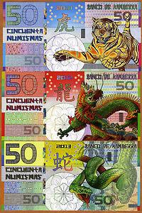 POLYMER SET, Kamberra  50;50;50 China 2010-2012-2013 UNC > Tiger Dragon Snake
