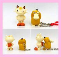 Vintage Pokemon Nintendo Meowth Figure & Psyduck Keychain