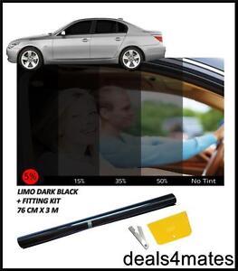 Kit de montaje 5/% 300cm X 50cm Limo negro teñido de Película Lámina de tinte ventanas de coche