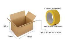 10 SCATOLE DI CARTONE  MONO ONDA AVANA NEUTRA 40x30x30 + NASTRO ADESIVO GIALLO