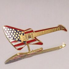 Vintage Miniature Explorer Guitar Pin American Flag Music Jewelry Gold Plated