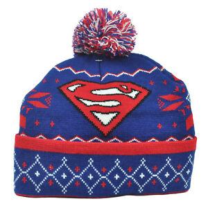 DC Comics Superman Knit Beanie Cuffed Pom Pom Super Hero Hat Toque Blue Book