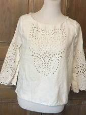 JOIE White Crochet Lace White Linen Top Size Large