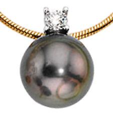 Echt Gold Collier Diamant Tahiti Perlen Schlangenkette 585er Gelbgold 14 Karat