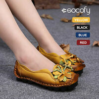 SOCOFY Women's Leather Loafers Flower Soft Flats Shoes Slip On Ethnic Pumps
