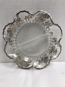 Antique Etched Silver Trim Glass Plate