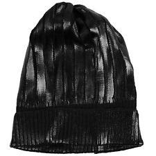 Winter Metallic Shiny Chunky Thick Knit Party Beanie Skull Ski Hat Cap Black
