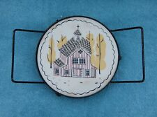 STAVE CHURCH Vintage Scandinavian Norwegian Ceramic & Metal Trivet w/ Handles