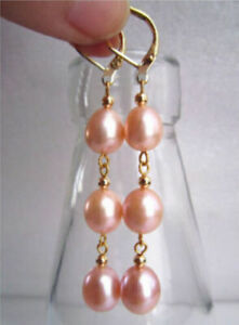 very beautiful 10-12mm natural pink south sea drop pearl earring 14k yellow gold
