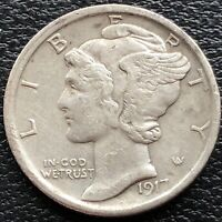 1917 S Mercury Dime 10c High Grade AU #31256
