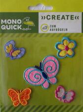 Transfer, Applikation, Aufbügler, Aufnäher *Schmetterlinge+Blume* 5er Set