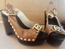 mk michael kors Ipen Toe Sling Ncak Heels 3.5 In Tan Gold Shoes 5.5B