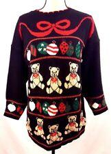 Black Christmas Sweater Womens Medium M Nutcracker Teddy Bear Ornaments Ugly