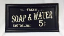 FRESH SOAP & WATER BATH VINTAGE STYLE WOOD SIGN ADVERTISING WALL ART AMERICAN!