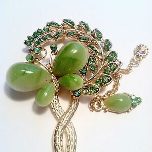 Hair Stick w Butterfly Leaf and Feather Design in Rhinestones and Jade accent