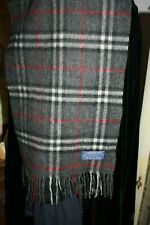 Mens Black White Gray Plaid Cashmere Wool Winter Scarf Tassel Wrap quite soft