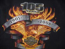Harley Davidson Motorcycles 105 Years 1903-2008 Anniversary T Shirt Black XL