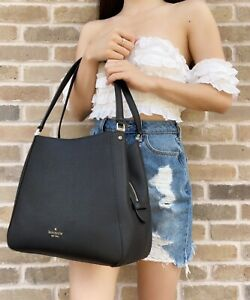 Kate Spade Leila Medium Triple Compartment Shoulder Bag Leather Black Tote