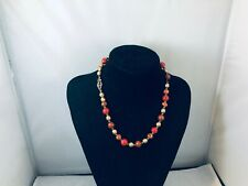 PRETTY RED CARNELIAN GOLD BEADED FLOWER NECKLACE