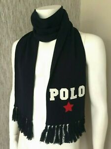 POLO RALPH LAUREN KNITTED VARSITY SCARF DOUBLE LAYERED RETAIL BNWT