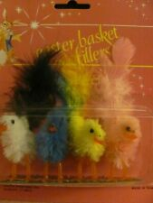 4 Vintage Old Store Stock Chenille Easter Chicks Real Feather Tails NIP Taiwan
