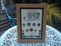 53rd Birthday 1965, £1  Note, 7 Coin & Stamps Framed Set, Unique Gift