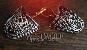 Large Celtic Knot Cloak Pins/Clasps Set --- Medieval/Viking/Coat/Brooch/Silver