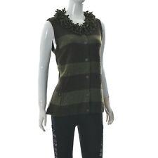 Woolrich Womens knit DARK LODEN Top Tassel Fringe Lambswool Green/Grey Striped L