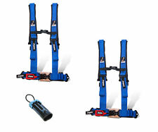 """Dragonfire Safety Seat Belts Harness Pair 4 Point 2"""" Bypass Blue Polaris Can Am"""