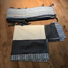 Restoration Hardware Baby Child Crib Set Blue Stripe Skirt Bumper Boy Nautical