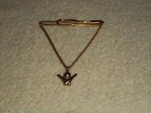 Vintage Swank Bowling Ball & Pins Gold Tone Tie Clasp Clip Bar Charm Chain