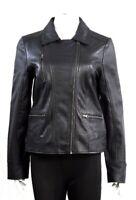 Womens Ladies Real 100% Genuine Leather Slim Fit Black Biker Jacket