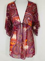 CAbi 841 Purple Orange Epic Tunic Paisley Chevron Tribal Kimono Blouse Small