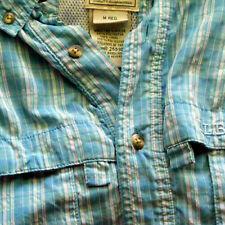 Vintage LL Bean Men's Shirt Hiking Blue White Plaid Mesh Lining 255102 Medium