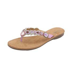 MUSTANG SHOES Damen Zehentrenner Sandale Flip-Flops Pink Bunt