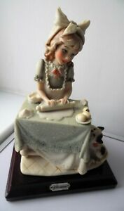 VINTAGE ITALIAN CAPODIMONTE GIRL ROLLING OUT PASTRY PORCELAIN FIGURINE
